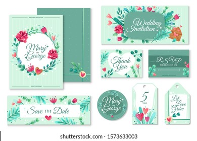 Wedding invitation templates. Cards banners decoration with flowers, romantic objects on a love theme. A variety of forms and formats