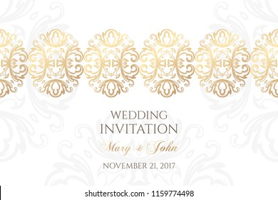 Wedding invitation templates. Cover design with ornaments and white background. Vector decorative horizontal banner with copy space.