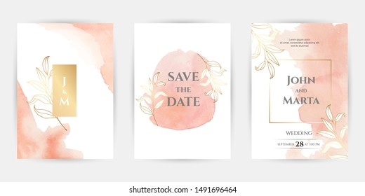 wedding invitation templates. Cover design with gold leaves ornaments. set with hand drawn watercolor background. Vector eps10.