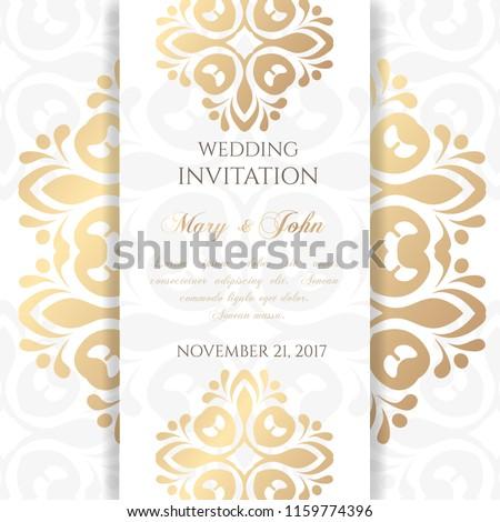 Wedding Invitation Templates Cover Design Ornaments Stock Vector
