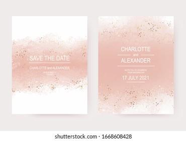 Wedding invitation templates with peach watercolor brush stroke and gold confetti.