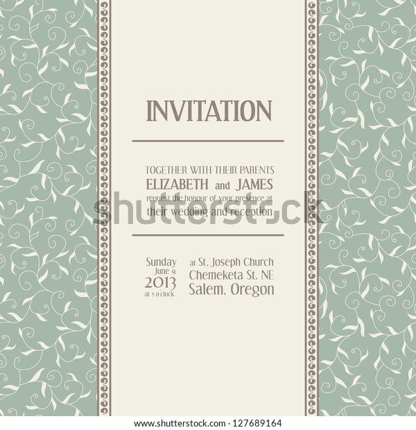 Wedding Invitation Text Space Example Seamless Stock Vector