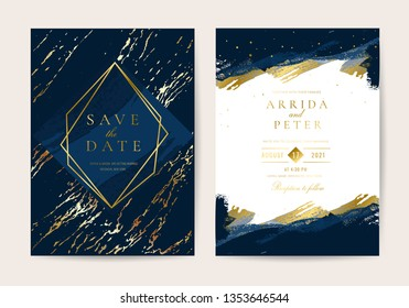 Wedding Invitation, Thank you card, rsvp, posters design collection. Trendy indigo blue and white Marble background texture - Vector