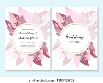 Wedding invitation, thank you card, save the date card. Wedding invitation, baby shower, menu, flyer, banner template with calligraphy, confetti, background. Elegant hipster rustic wedding invitation