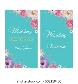 Wedding invitation, thank you card, save the date cards. Wedding invitation, flyer, banner template. EPS 10