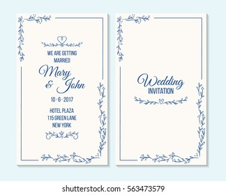 Wedding invitation, thank you card, save the date card. Wedding invitation, baby shower, menu, flyer, banner template with wreath, blue, arrow. Elegant vintage hipster rustic wedding invitation.