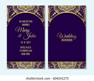 Wedding invitation, thank you card, save the date, baby shower cards. Wedding invitation, baby shower, menu, flyer, banner template, gold mandala and purple background, Indian design.