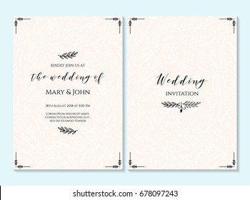 Wedding invitation, thank you card, save the date card. Wedding invitation, baby shower, menu, flyer, banner template with calligraphy, confetti, background. Elegant hipster rustic wedding invitation.