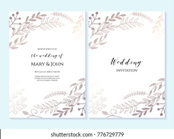 Wedding invitation, thank you card, save the date cards. Wedding invitation, baby shower, menu, flyer, banner template with floral pattern, hand drawn lettering, background. Summer wedding invitation.