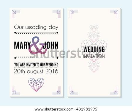 Wedding Invitation Thank You Card Save Stock Vector (Royalty