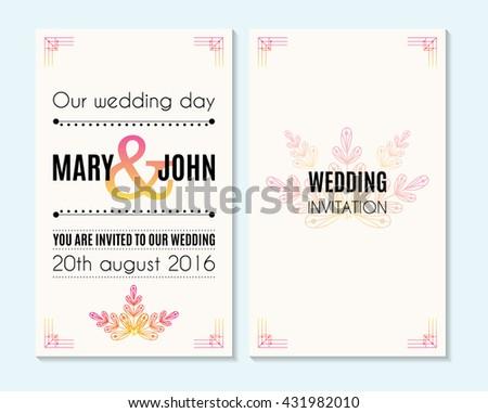 Wedding Invitation Thank You Card Save Stock Vector (Royalty Free