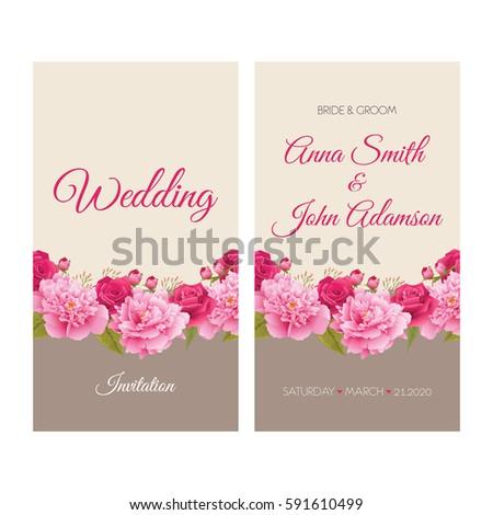 Wedding Invitation Thank You Card Save Stock Vector Royalty Free