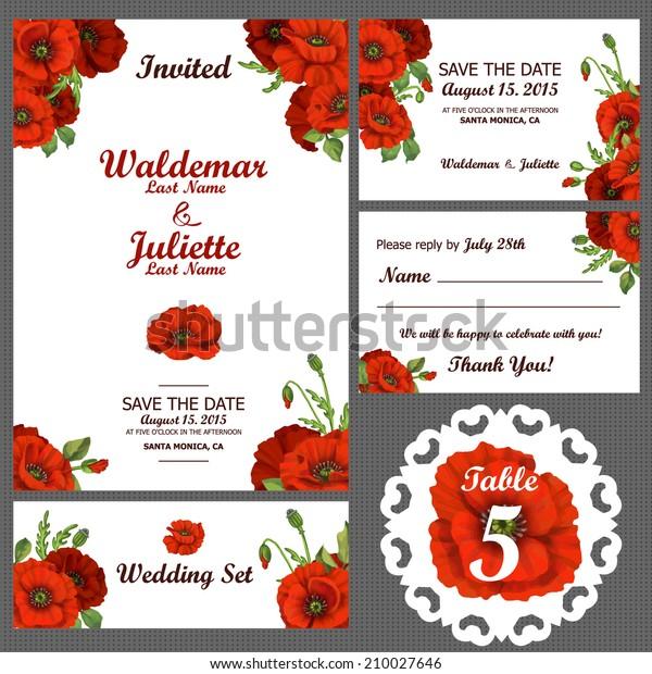 Wedding Invitation Thank You Card Save Stock Vector Royalty