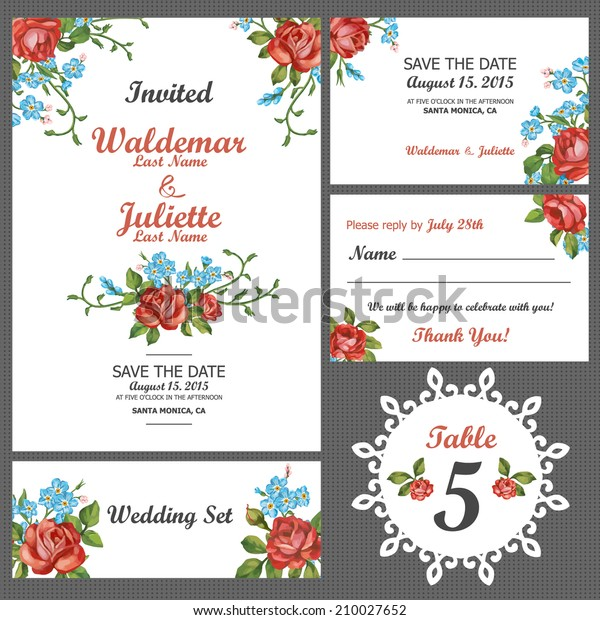 Wedding Invitation Thank You Card Save Stock Vector Royalty