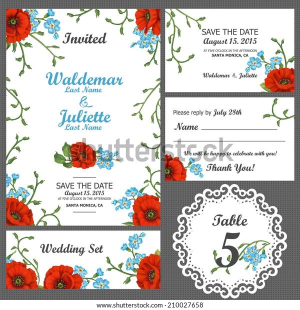 Wedding Invitation Thank You Card Save Vintage Stock Image