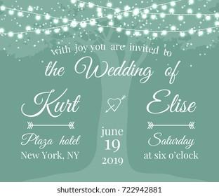 Wedding Invitation with tree and light garlands. Banner wedding invitation. Vector illustration