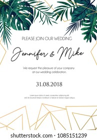 Wedding invitation tropical design with golden geometric lines and tropical leaves. Elegant floral template for engagement with lettering and white background. Vector illustration.