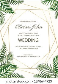 Wedding invitation with tropical leaves and golden frame