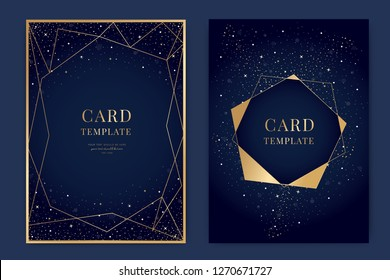 Wedding Invitation, universe invite thank you, rsvp modern card Design in little star light in the sky, space Vector elegant rustic template