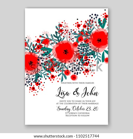 Wedding invitation vector printable template card stock vector wedding invitation vector printable template card floral bridal wreath anemone rose peony red rustic poppy flowers maxwellsz
