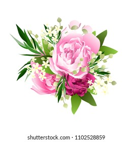 Wedding invitation vector template card Beautiful soft pink peony ranunculus background flowers bouquet for birthday card bridal shower baby shower invites congratulations and celebrations party
