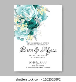 Wedding invitation vector template card Beautiful soft mint peony vintage background flowers bouquet for birthday card bridal shower baby shower invites congratulations and celebrations party