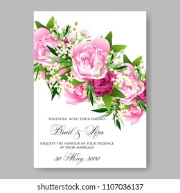 wedding invitation vector template card beautiful soft pink peony vintage background flowers bouquet for birthday card