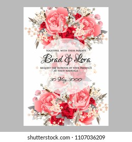 Wedding invitation vector template card Beautiful soft scarlet red peony vintage background flowers bouquet for birthday card bridal shower baby shower invites congratulations and celebrations party