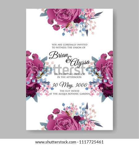 wedding invitation vector template card beautiful maroon dark red peony vintage background flowers bouquet for birthday