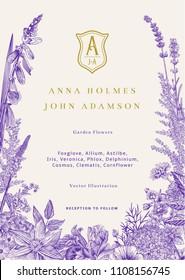 Wedding invitation. Vector vintage illustration. Garden flowers. Ultraviolet