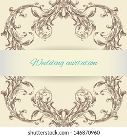 Wedding invitation. Vintage background brown baroque pattern. Vector vintage border frame engraving with retro ornament pattern in antique baroque style decorative design.