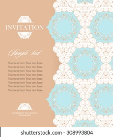 Wedding invitation vintage card with floral and antique decorative elements. Vector illustration