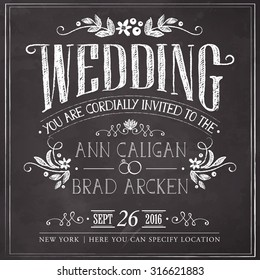 Wedding invitation vintage card. Freehand drawing on the chalkboard