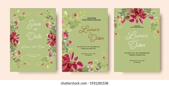 Wedding invitation vintage frame set cherry, leaves, watercolor, isolated on green. Sketched wreath, floral and herbs with green, greenery. Vector hand drawn watercolor paintings style, Nature art.