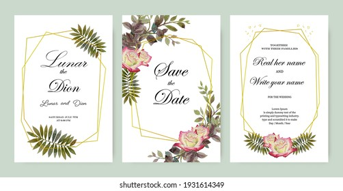 Wedding invitation vintage frame set roses, leaves, watercolor, isolated on white. Vector illustration floral and herbs hand drawn watercolor paintings style