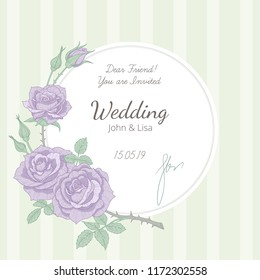 Wedding invitation at vintage style. White round label decorated with twig of violet rose. Template of elegant card for wedding design.