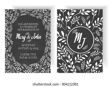 Wedding Invitation Vintage Typographic Background On Blackboard With Floral Design Elements