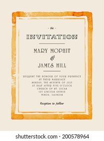 Wedding invitation with watercolor frame. Retro style hand drawn ornament. Vector illustration