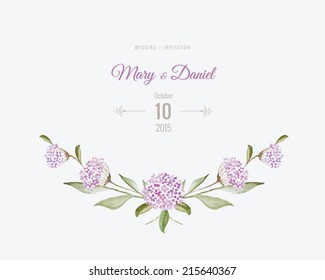 Wedding invitation watercolor. Save The Date card with flowers and leaves in gentle tones. Beautiful floral background with text and decorative design elements page