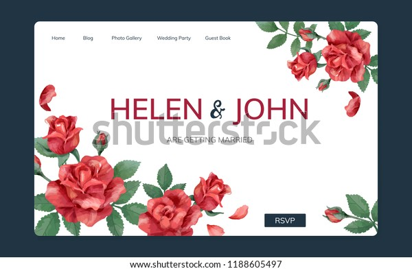 Wedding Invitation Website Floral Theme Stock Vector Royalty Free