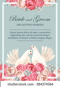 Wedding invitation with white doves