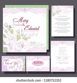wedding invitation with white roses
