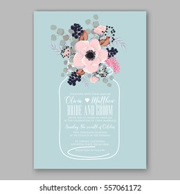 Wedding Invitations with anemone flowers. Anemone Bridal Shower invitation cards in light gray and  blue theme