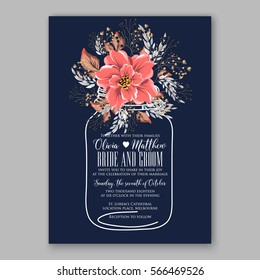 Wedding Invitations with anemone flowers. Anemone Bridal Shower invitation cards in navy blue theme with red peony
