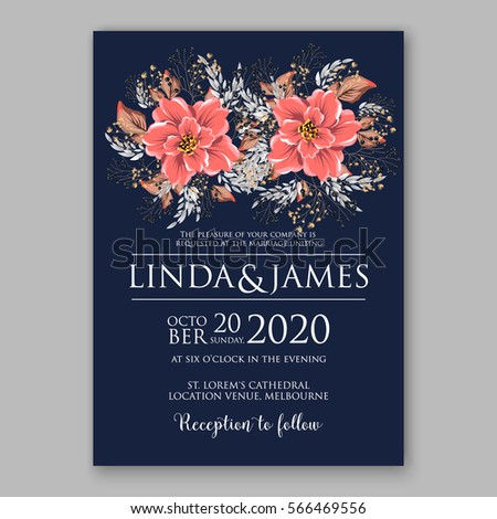 wedding invitations with anemone flowers anemone bridal shower invitation cards in navy blue theme with