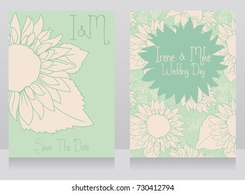 wedding invitations with beautiful sunflowers, tender mint color,  vector illustration in hand drawn style