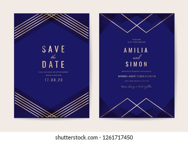 Wedding invitations card with Luxurious geometric pattern vector design template