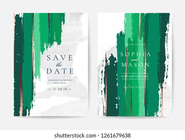 Wedding invitations and Card Template Design with Painted canvas White Marble and gold foil in luxurious Emerald style Vector Illustration.