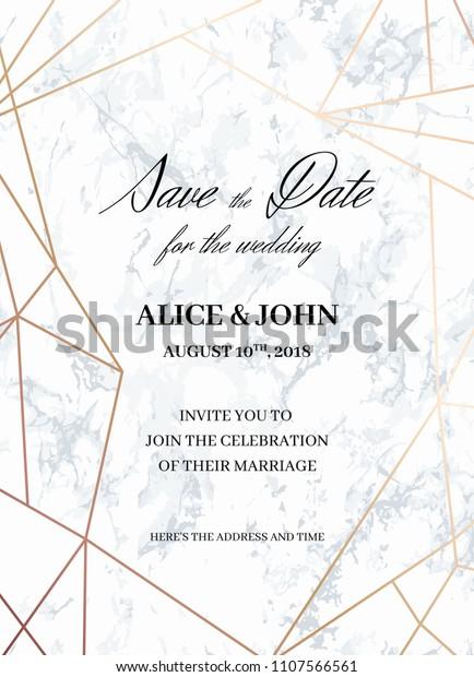 Wedding Invitations Card Template Geometric Design Stock Vector