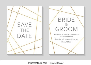 Wedding invitations or card templates with modern golden geometric borders on a white background.